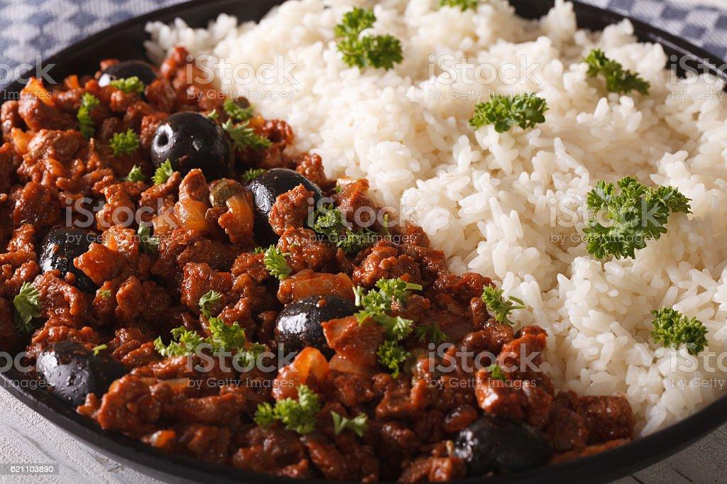 American cuisine: Picadillo a la habanera with a side dish stock photo