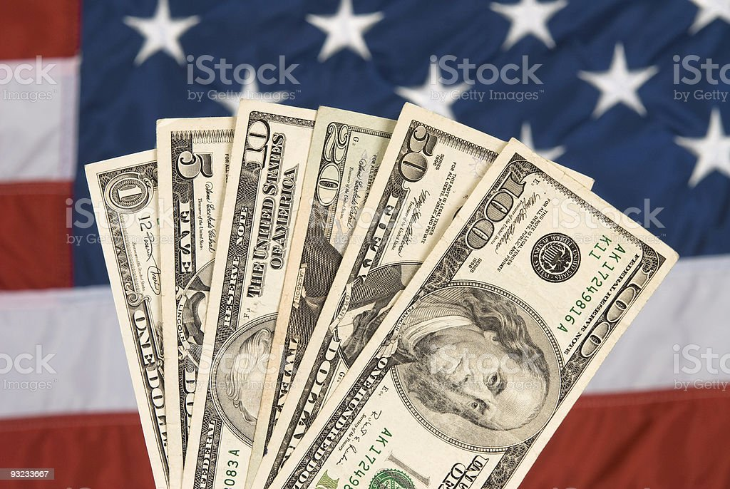 American currency and flag royalty-free stock photo