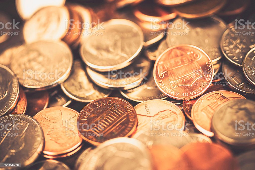 American currency coins background stock photo