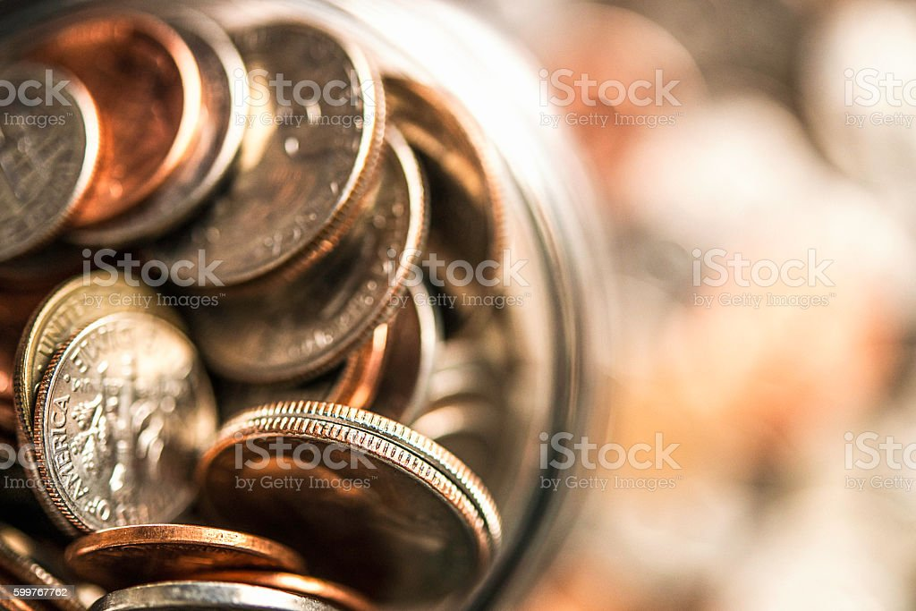 American currency jar collecting money for charity stock photo