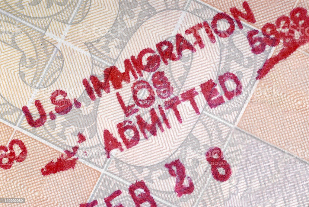 American customs stamp royalty-free stock photo