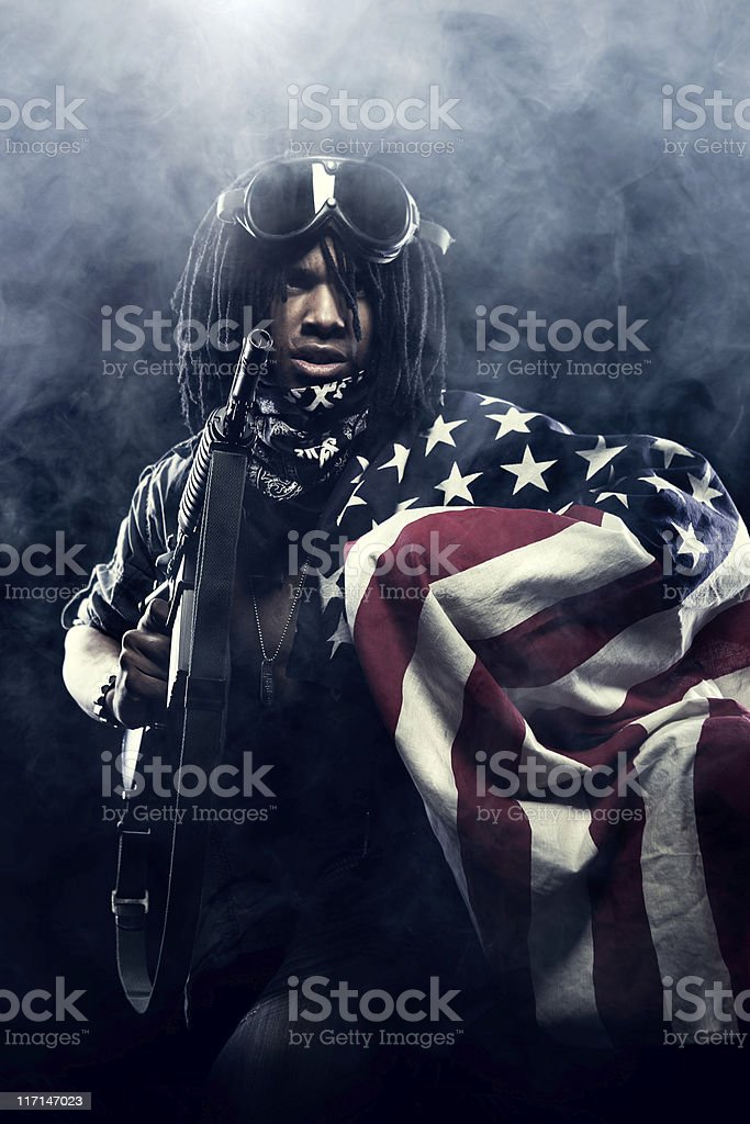 American Defender with Flag royalty-free stock photo