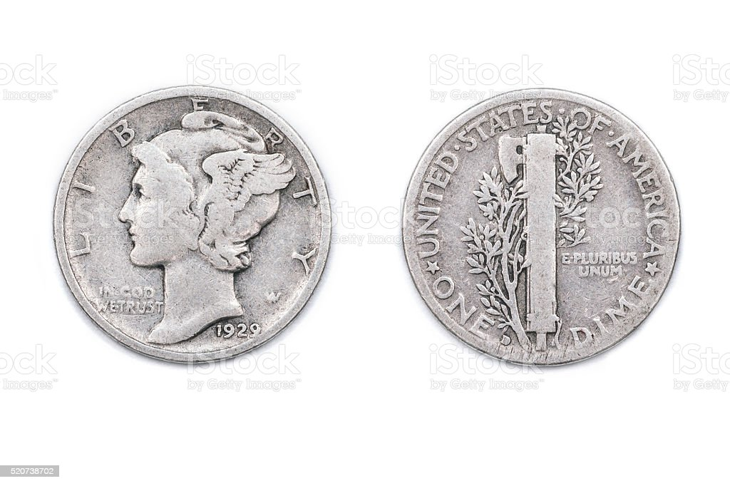 American Dime from 1929 stock photo