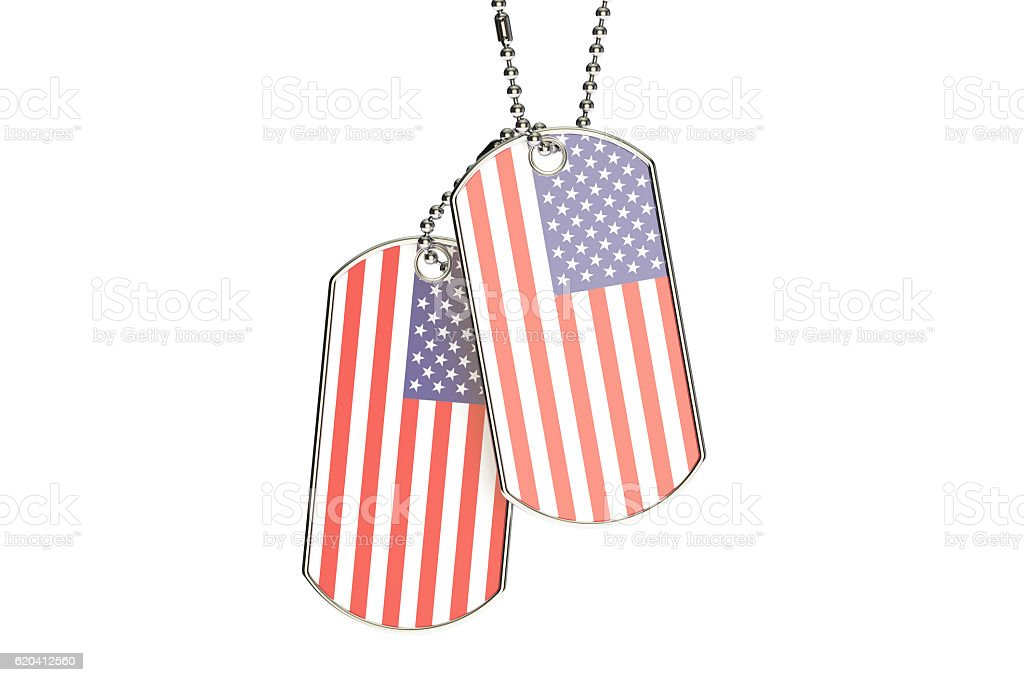 American Dog Tags, 3D rendering stock photo