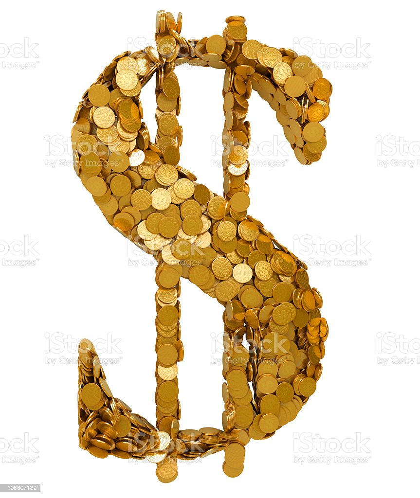 American Dollar Currency symbol shaped with coins royalty-free stock photo
