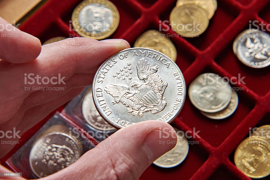 American dollar in hand of numismatist stock photo