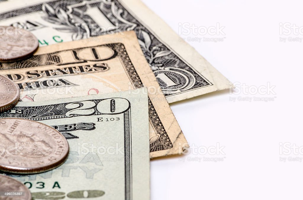 American dollar money bills and coins close-up with copy space stock photo
