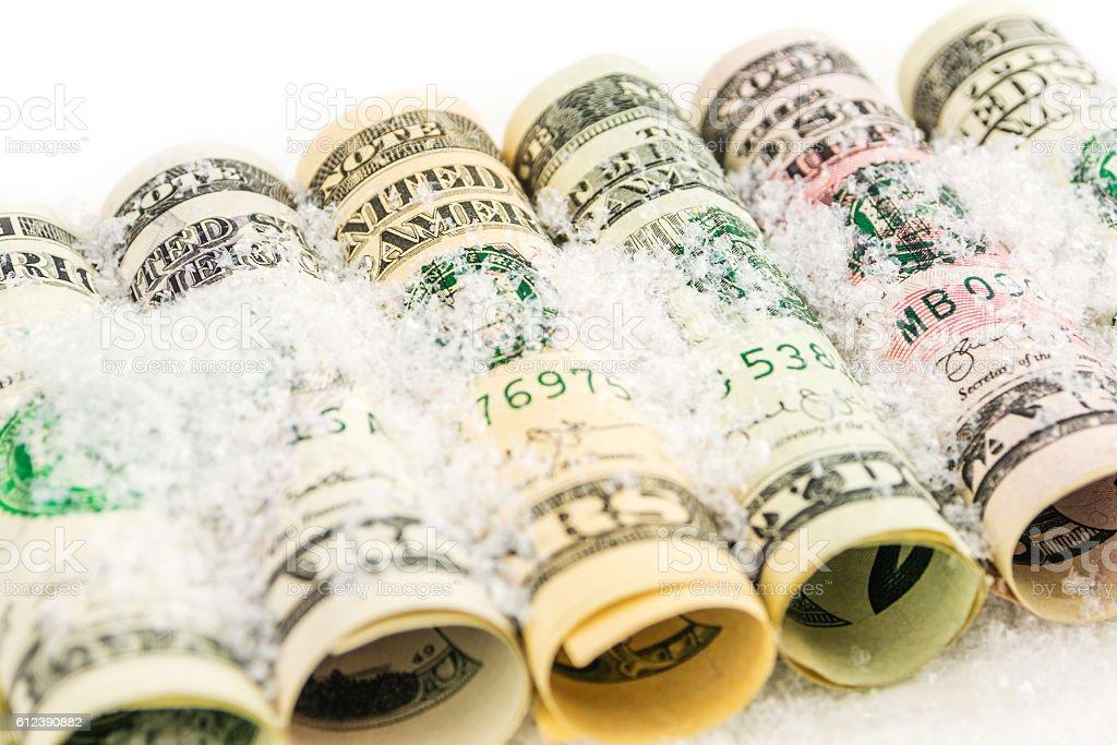 american dollar value frozen stock photo