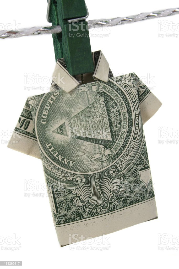 American dollar with clothespin royalty-free stock photo