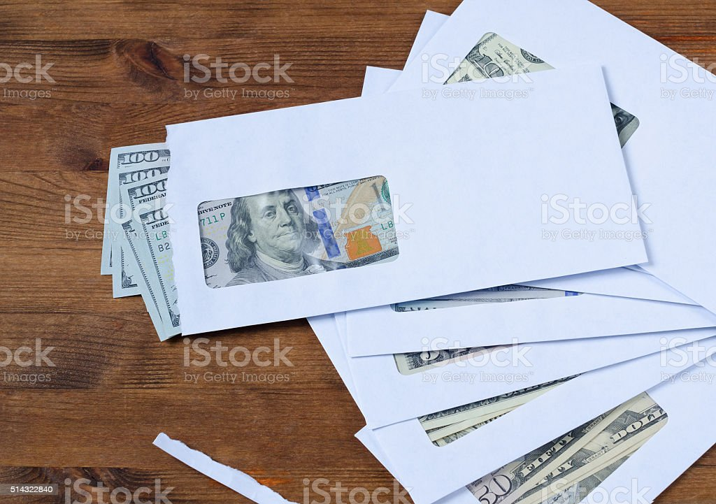 American dollars in the envelopes stock photo