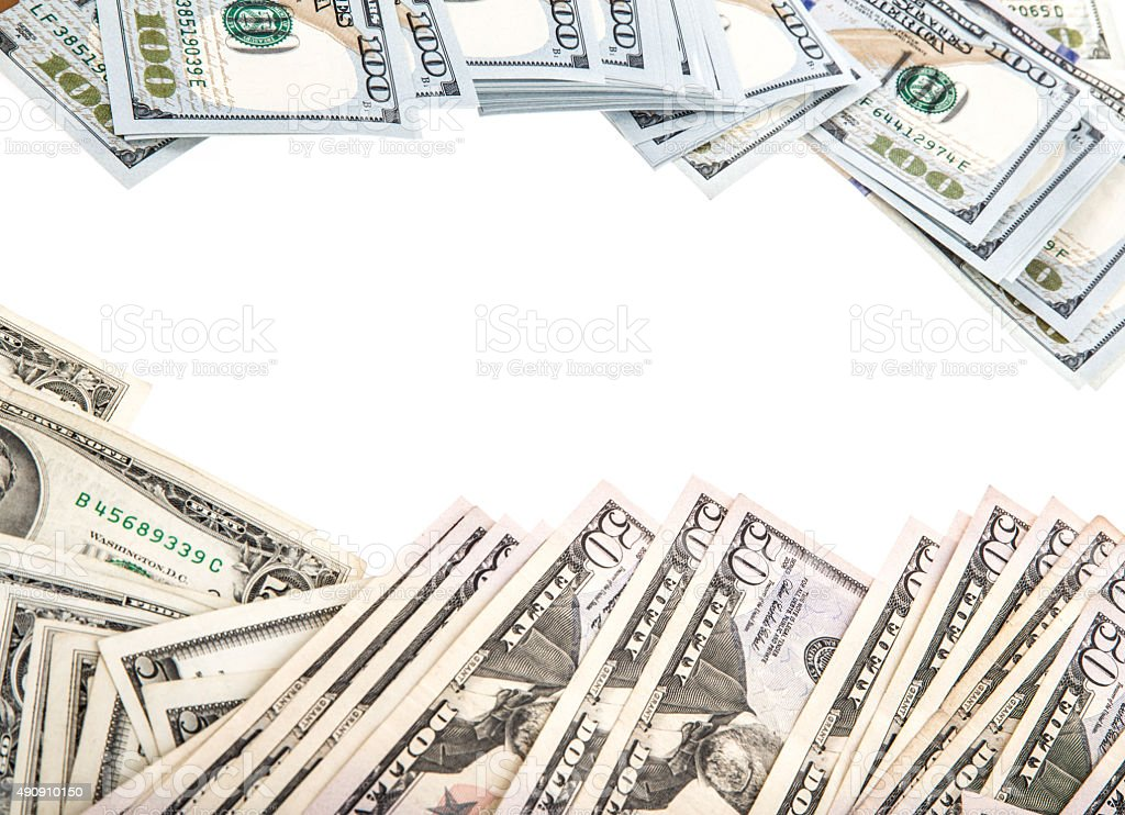 american dollars isolated on white stock photo