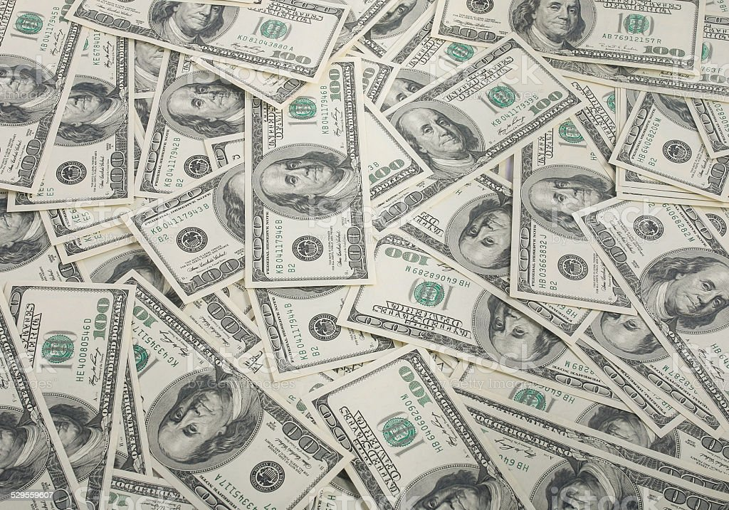 american dollars pile as background stock photo