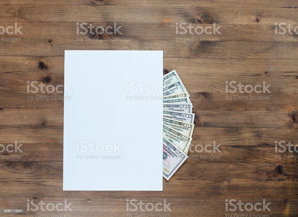 American dollars under paper stock photo