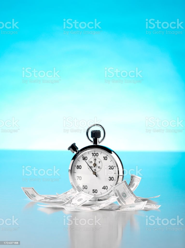 American Dollars with a Stopwatch royalty-free stock photo