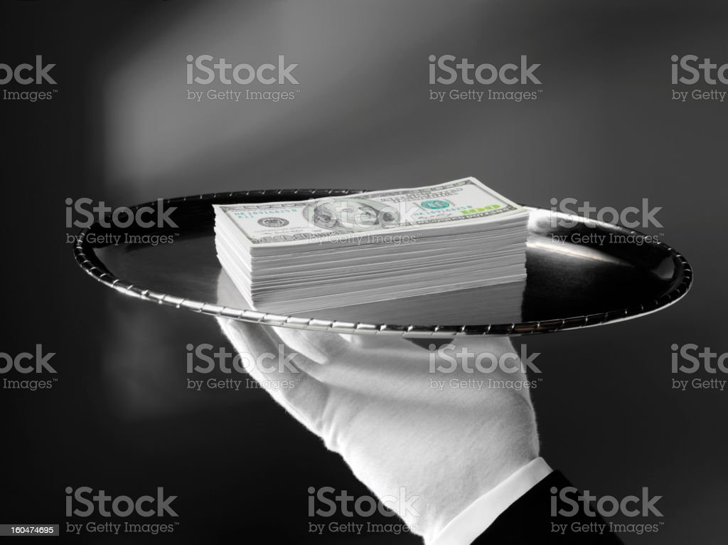 American Dollars with First Class Service stock photo