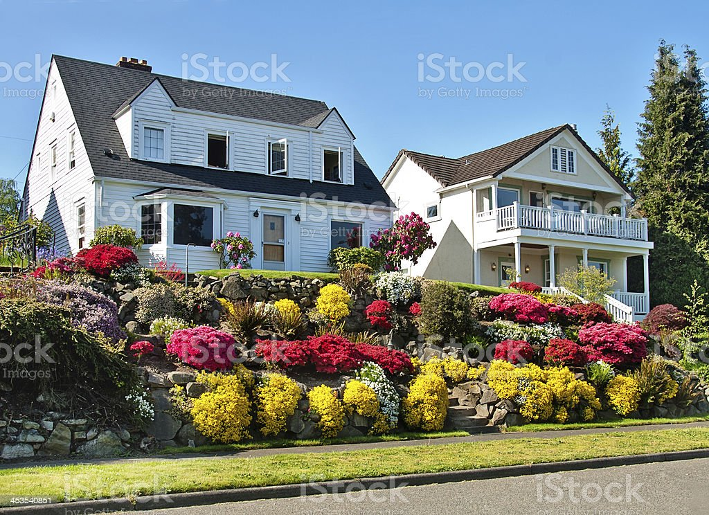 American Dream Home with Flower Garden royalty-free stock photo