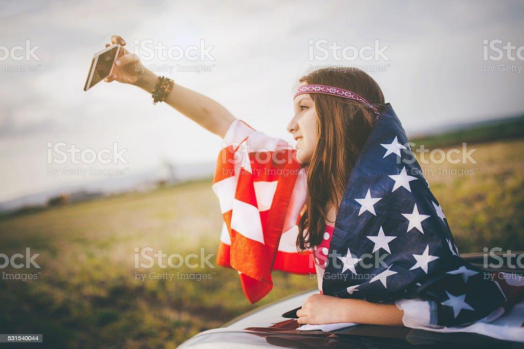 American dream selfie! stock photo