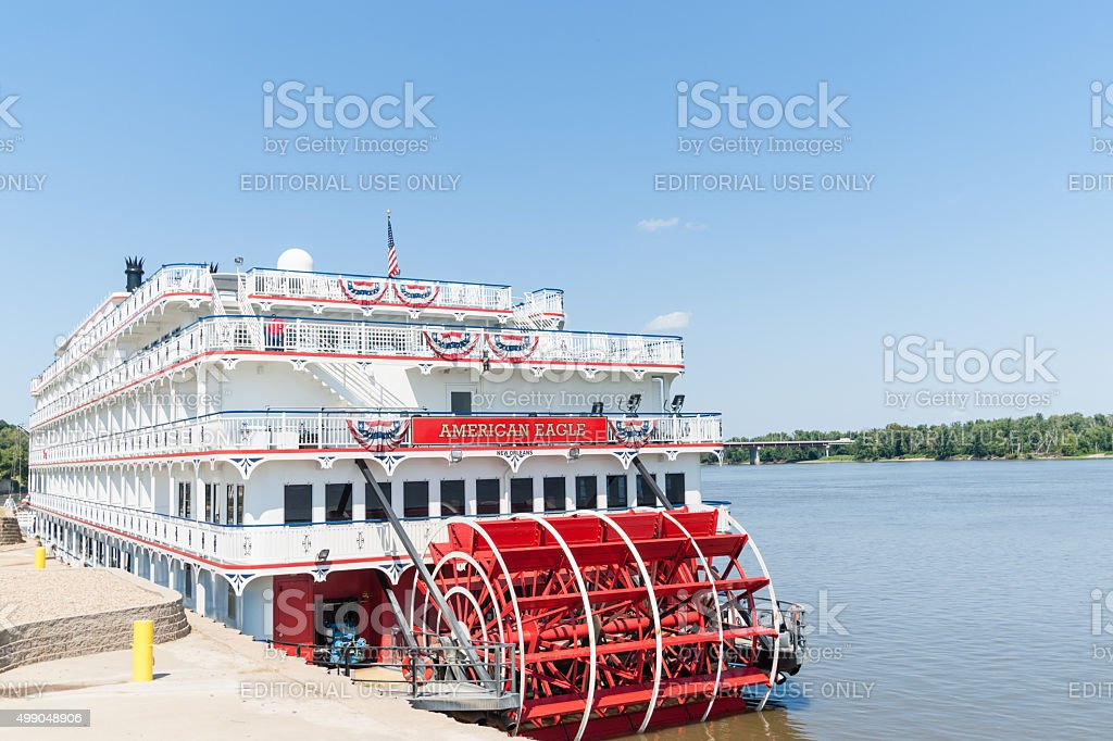 American Eagle  paddlewheel riverboat American Eagle docked stock photo