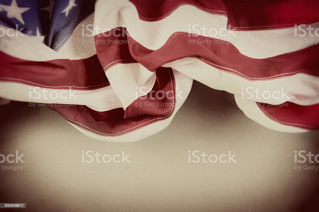 American education. USA flag, school classroom chalkboard.  Old-fashioned. stock photo