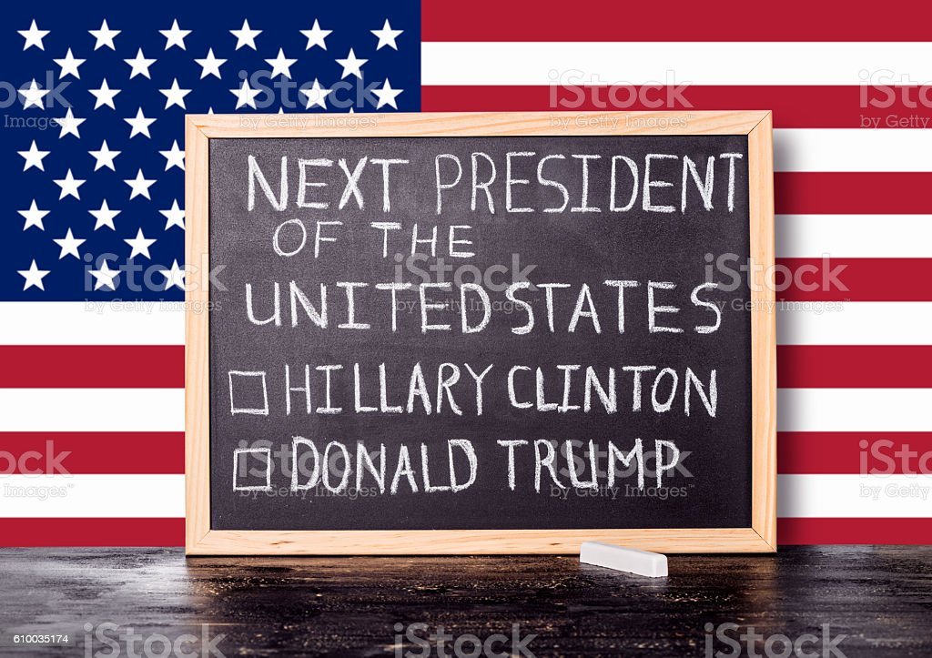 American election concept with flag and handwriting text stock photo
