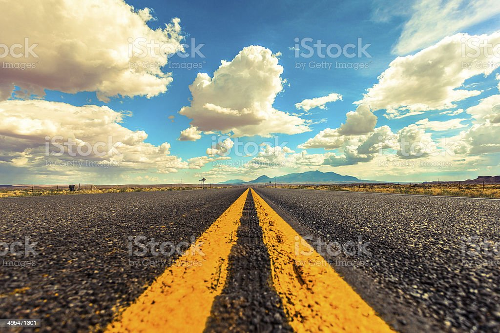 American Empty Road to Nowhere, USA stock photo