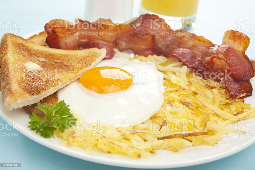 American English Breakfast Hash Browns Bacon Fried Egg Toast stock photo