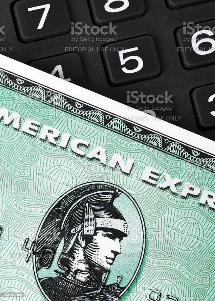 American Express card and number pad stock photo