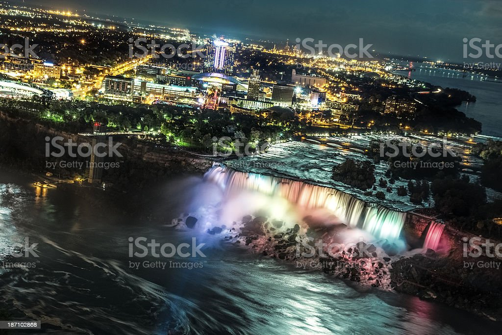 American Falls aerial skyline stock photo