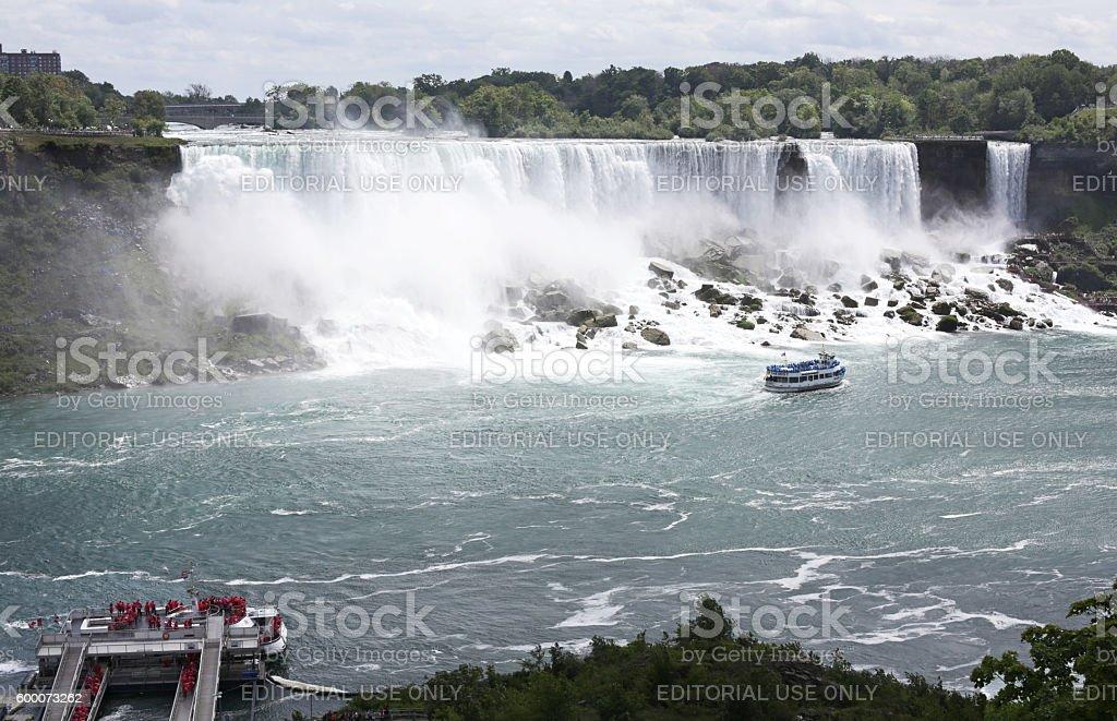 American Falls and Bridal Veil Falls, Niagara River in Summer stock photo