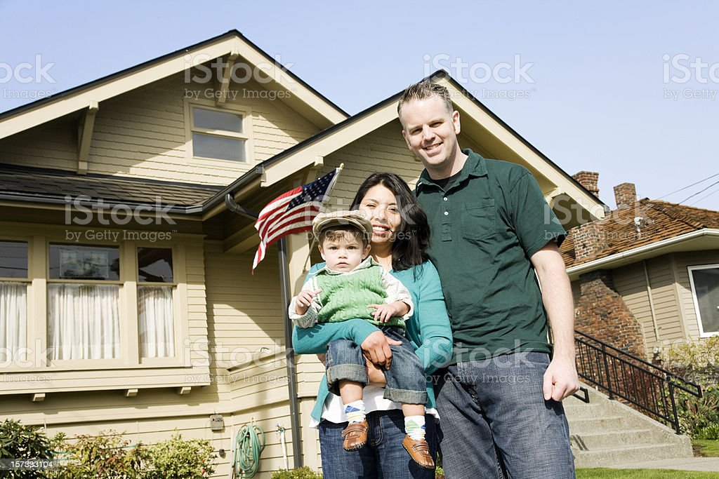 American Family at Home royalty-free stock photo