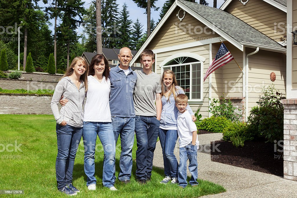 American Family of Six at Home royalty-free stock photo