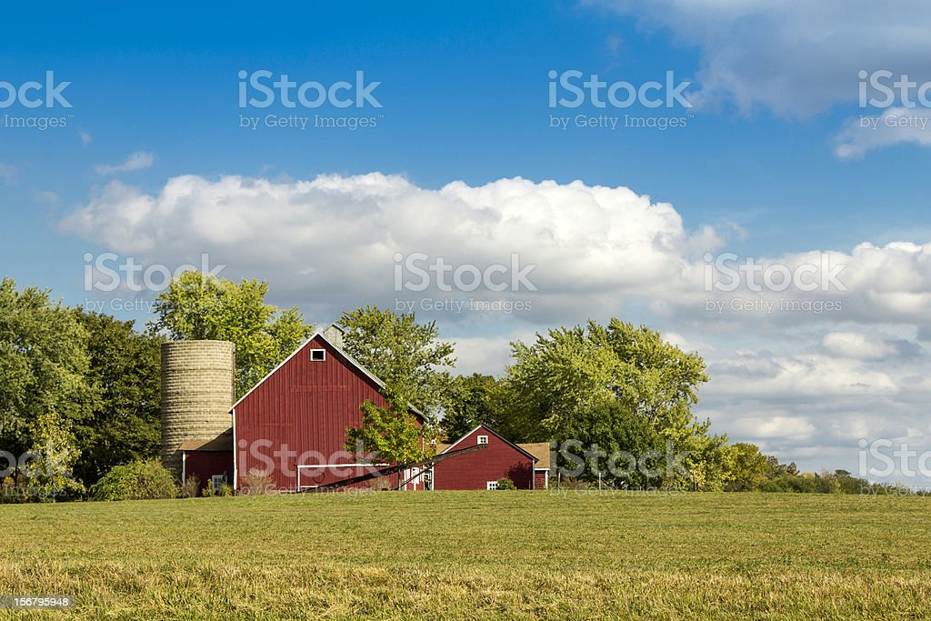 American farm with aged silo royalty-free stock photo