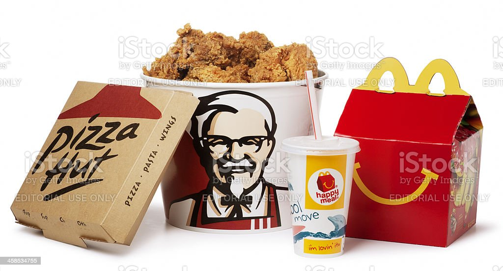 American Fast Food on White stock photo