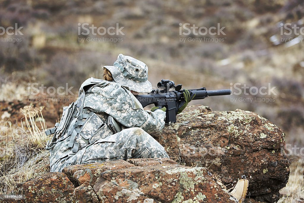 American female sniper royalty-free stock photo