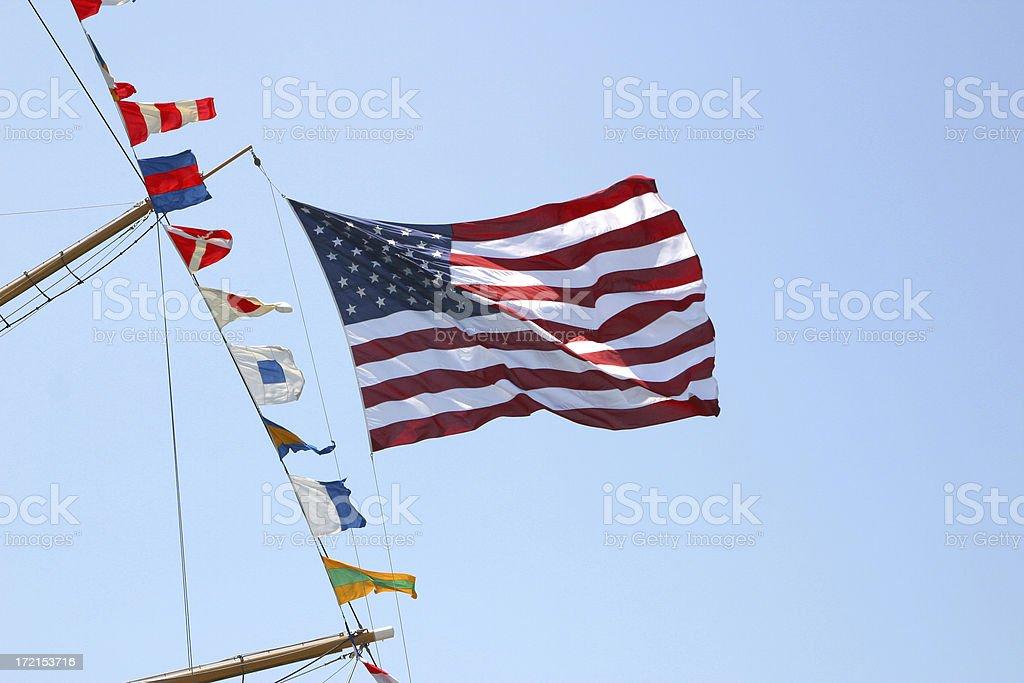 American Flag Aboard Ship stock photo