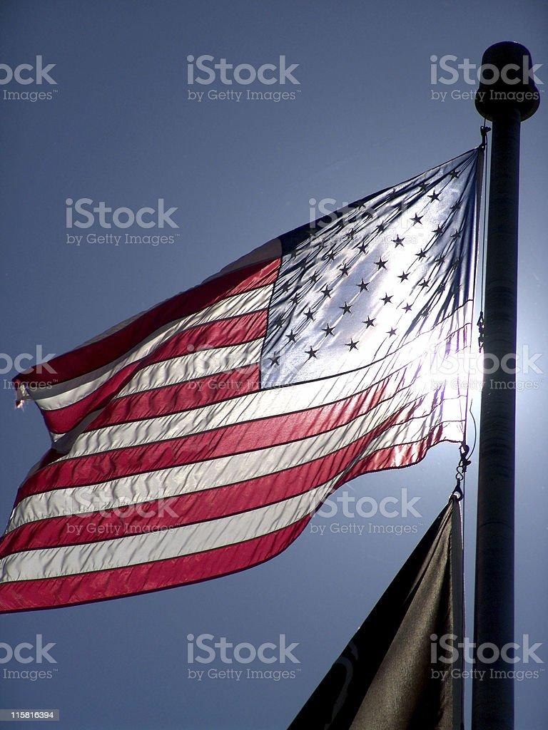 American Flag & Sunlight royalty-free stock photo