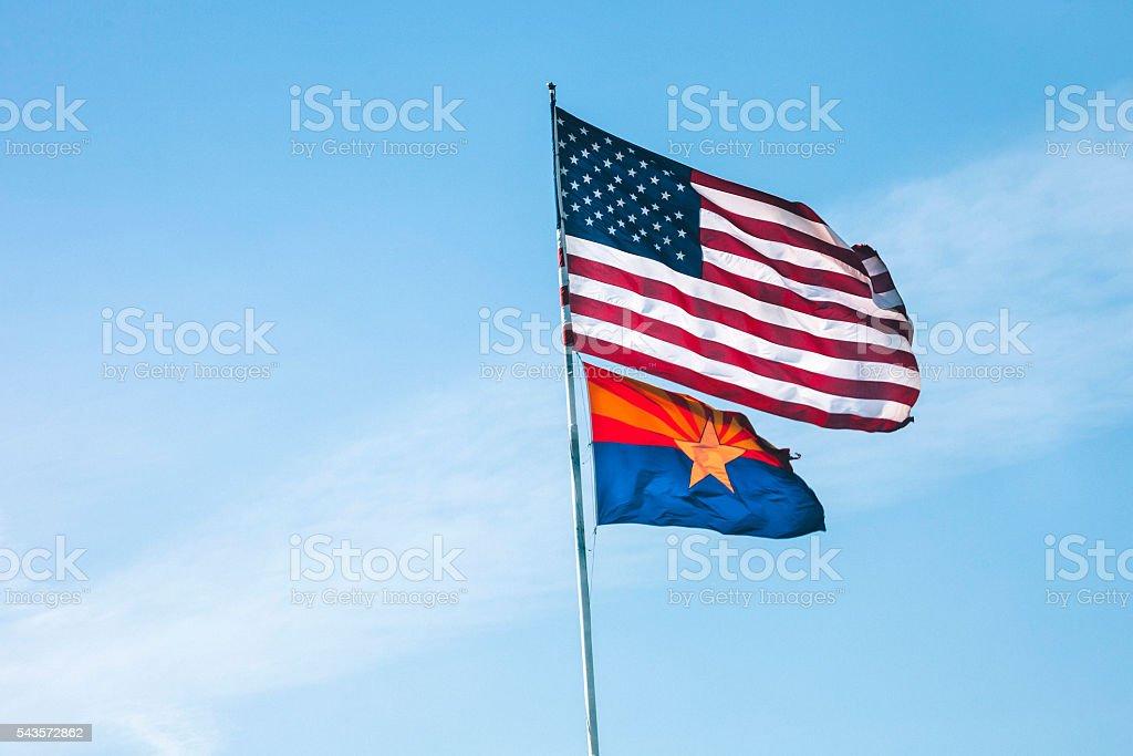 American flag and Arizona flag. stock photo