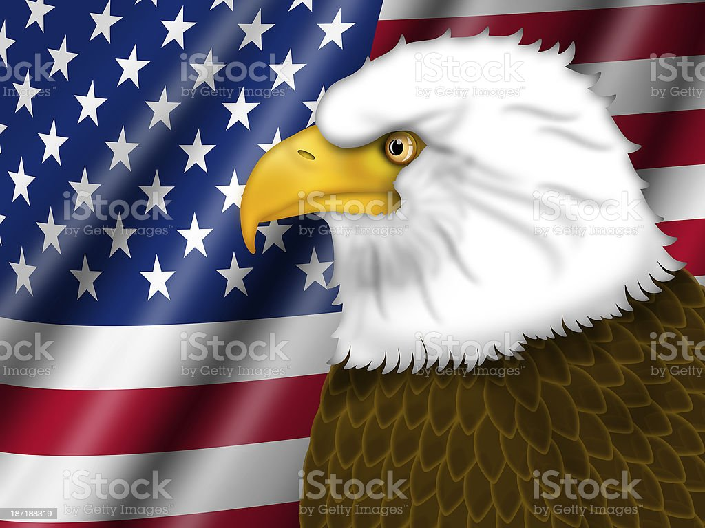 American Flag and Bald Eagle royalty-free stock photo