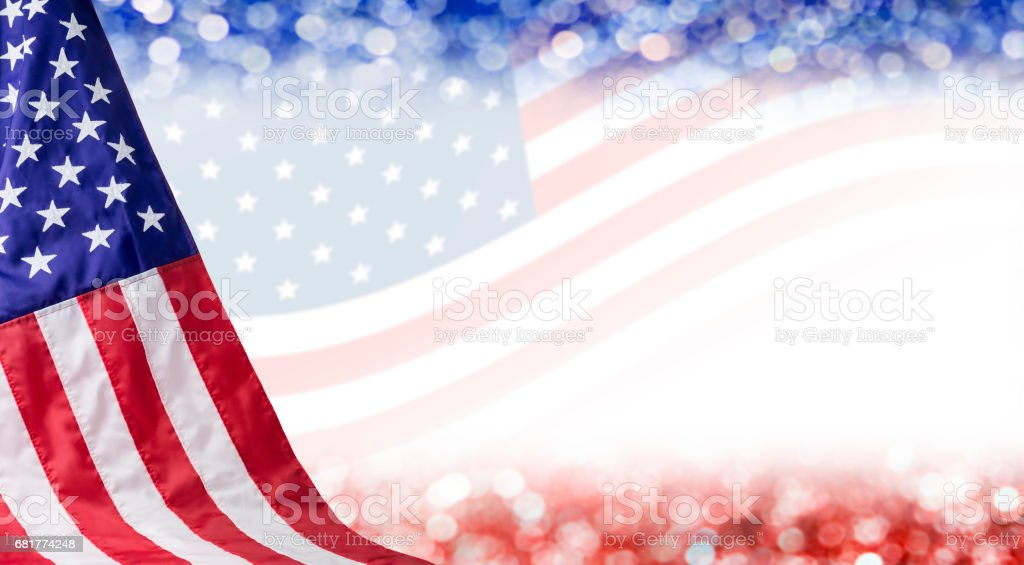 American flag and bokeh background with copy space for 4 july independence day and other celebration stock photo