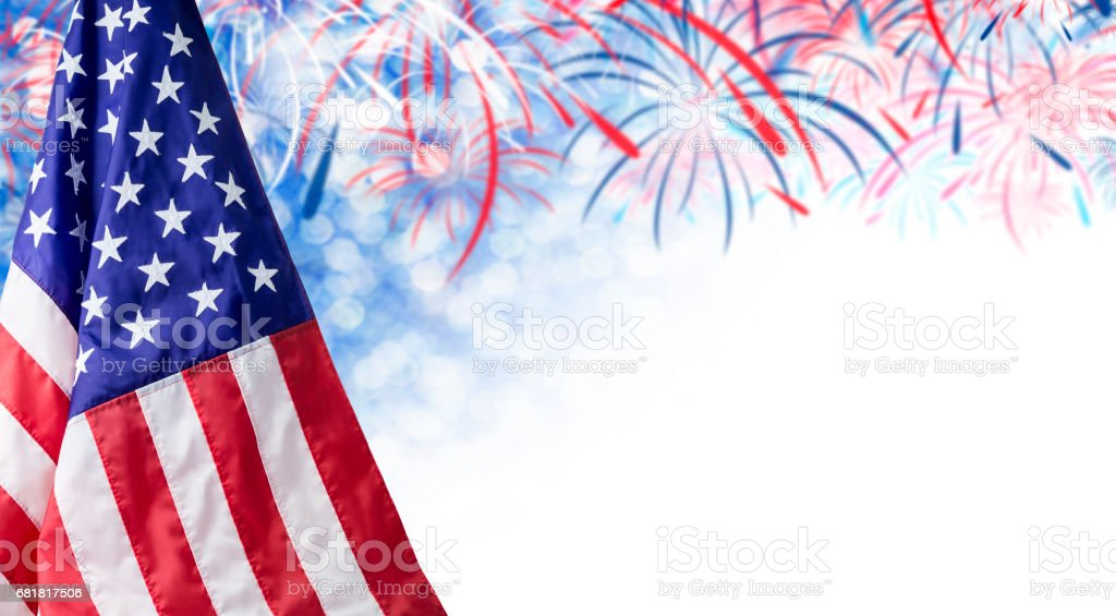American flag and bokeh background with firework and copy space for 4 july independence day and other celebration stock photo