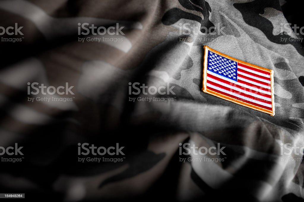 American Flag and Camoflage (Military Series) stock photo