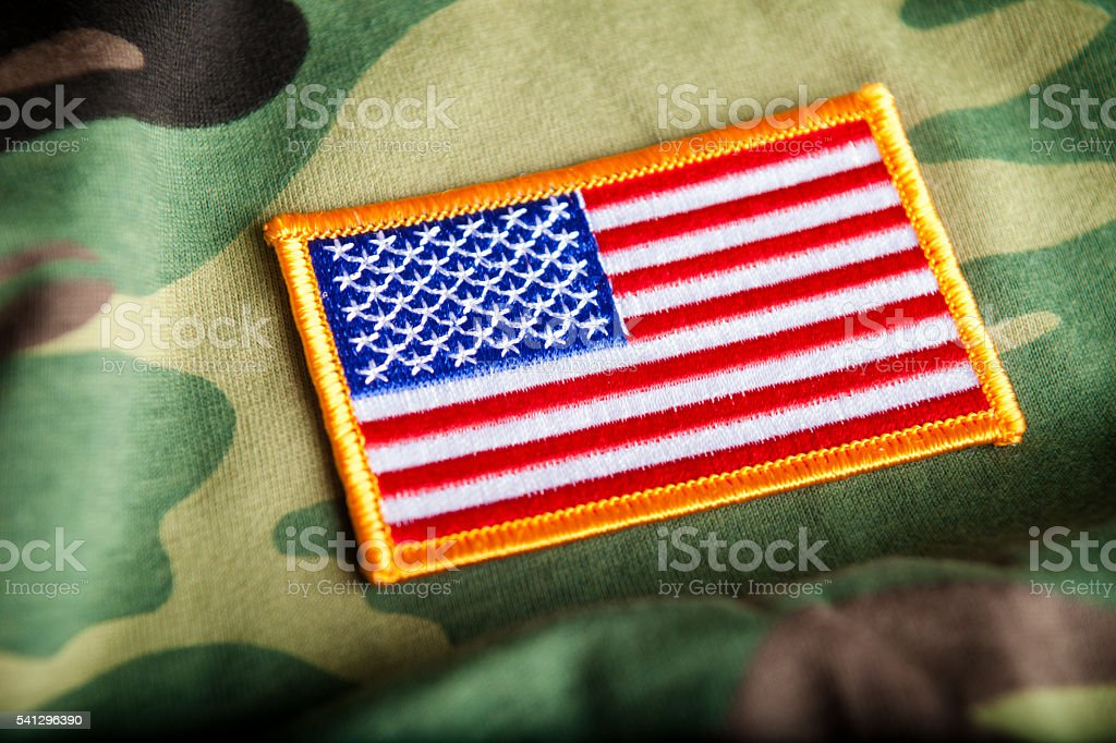 American Flag and Camoflage stock photo