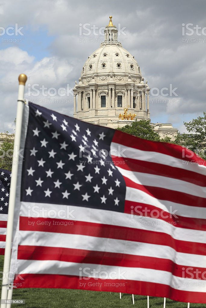 American flag and capitol building. stock photo