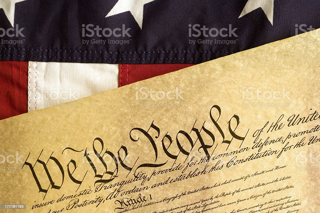 American Flag and Declaration of Independance stock photo