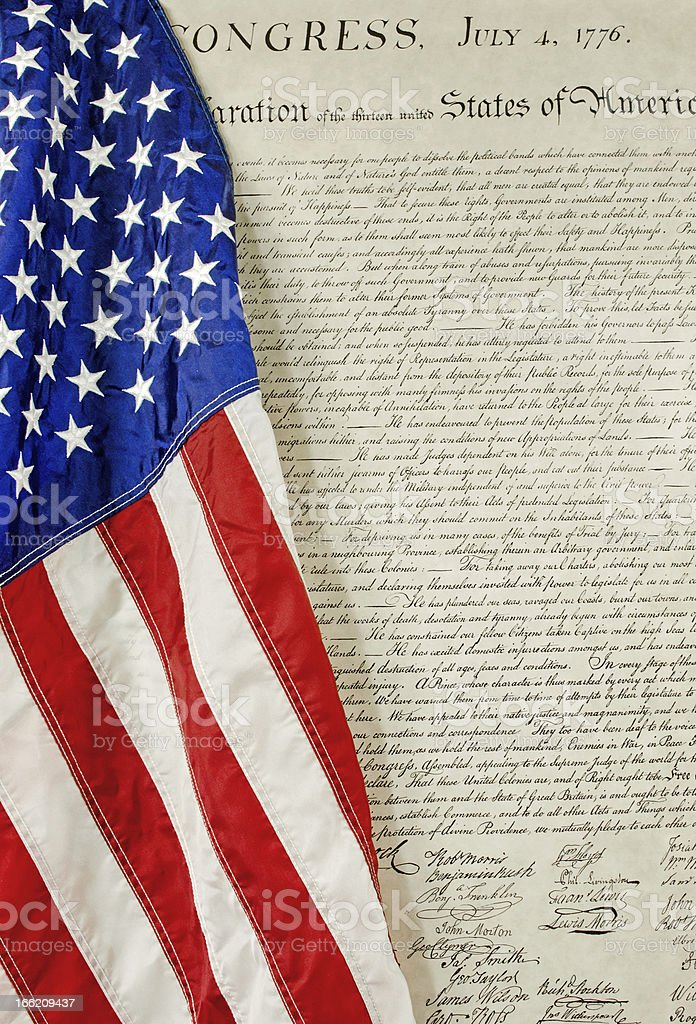 American Flag and Declaration of Independence stock photo
