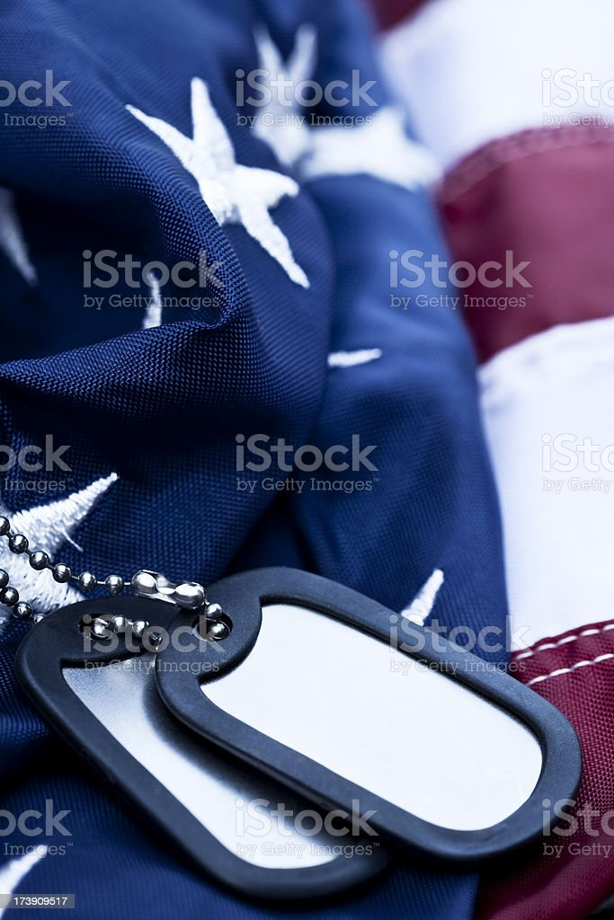 American Flag and Dog Tags stock photo