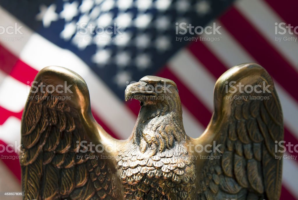 American flag and eagle stock photo