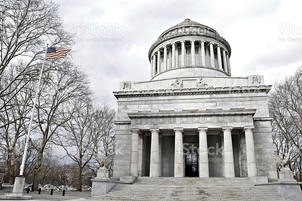 American flag and General Grant National Memorial, Grant's Tomb, NYC stock photo