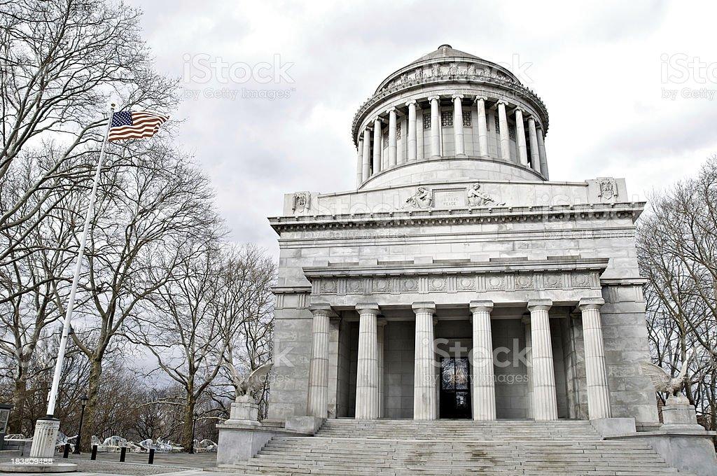 'American flag and General Grant National Memorial, Grant's Tomb,' stock photo