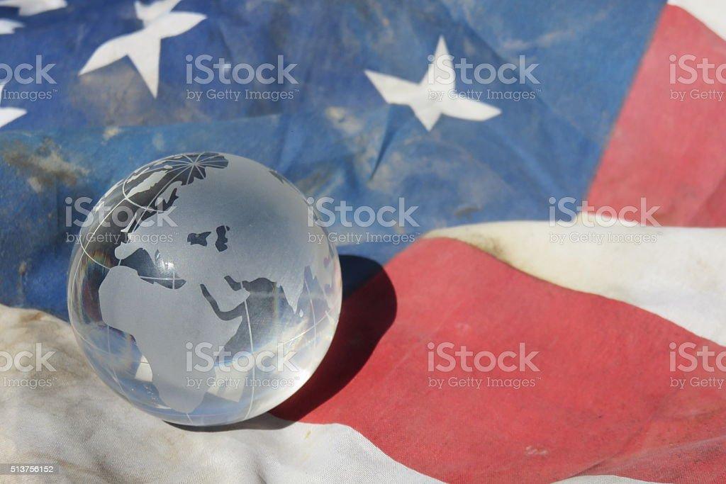 American Flag and Globe of USA stock photo